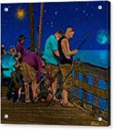A Little Night Fishing At The Rodanthe Pier 2 Acrylic Print