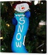 A Long Snow Ornament- Vertical Acrylic Print