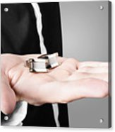 A Male Model Showcasing Cuff Links In His Hand Acrylic Print