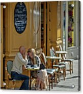 A Man A Woman A French Cafe Acrylic Print by Allen Sheffield