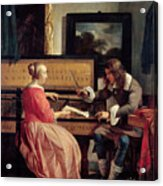 A Man And A Woman Seated By A Virginal Acrylic Print