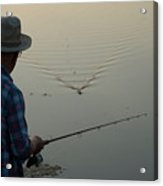A Man Fishes For Largemouth Bass Acrylic Print