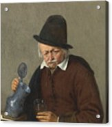 A Man Holding A Tankard And A Glass Acrylic Print