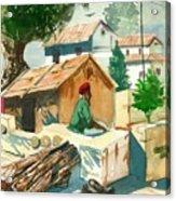 A Man Sitting Near A Tropical Village House Acrylic Print