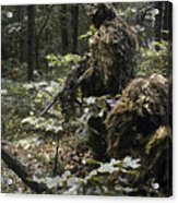 A Marine Sniper Team Wearing Camouflage Acrylic Print