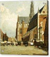 A Market By The St. Bavo Church Acrylic Print