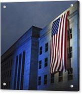 A Memorial Flag Is Illuminated On The Acrylic Print