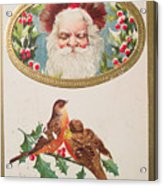 A Merry Christmas From Santa Claus Vintage Greeting Card With Robins Acrylic Print