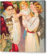 A Merry Christmas Vintage Card Santa And A Family Acrylic Print
