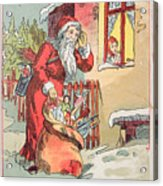 A Merry Christmas Vintage Greetings From Santa Claus And His Gifts Acrylic Print