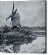 A Mill On The Banks Of The River Stour Charcoal On Paper Acrylic Print