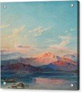A Mountain Lake At Sunset Acrylic Print
