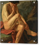 A Naked Man Sitting In A Landscape Acrylic Print