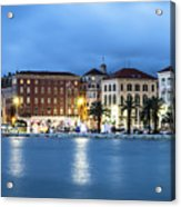 A Night View Of Split Old Town Waterfront In Croatia Acrylic Print