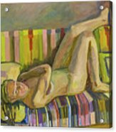 A Nude Lying Legs Up Acrylic Print