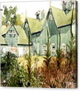 Watercolor Of An Old Wooden Barn Painted Green With Silo In The Sun Acrylic Print