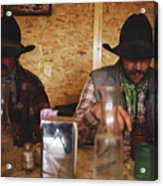 A Pair Of Cowboys Enjoy A Cup Of Coffee Acrylic Print