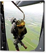 A Paratrooper Executes An Airborne Jump Acrylic Print
