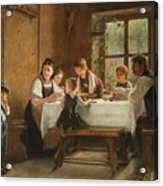 A Peasant Family At Their Meal With A Crying Boy Acrylic Print