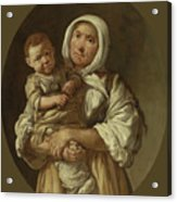 A Peasant Mother With Her Child In Her Arms Acrylic Print