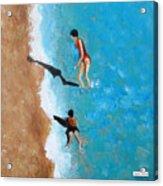 A Piece Of The Beach - Orange Swim Acrylic Print