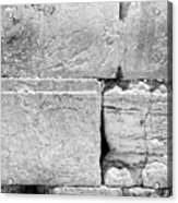A Piece Of The Wailing Wall In Black And White Acrylic Print