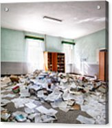 A Pile Of Knowledge - Abandoned School Building Acrylic Print