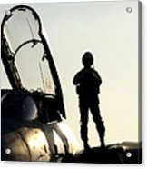 A Pilot Prepares To Enter His F-14b Acrylic Print by Stocktrek Images