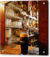 A Pint Of Dark Beer Sits In A Pub Acrylic Print by Jim Richardson