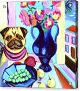 A Pug's Dinner At Henri's - Pug Acrylic Print