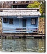 A Raft House Moored To The Shoreline Of Ada Ciganlija Islet Acrylic Print