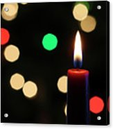 A Red Christmas Candle With Blurred Lights Acrylic Print