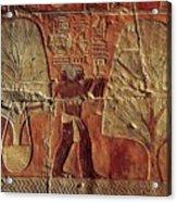 A Relief Of Men Carrying Myrrh Trees Acrylic Print by Kenneth Garrett