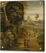 A River Landscape With Figures On A Country Road Acrylic Print