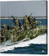 A Riverine Command Boat Conducts Acrylic Print