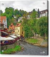 A Riverside Cafe Along The Vltava River In The Czech Republic Acrylic Print