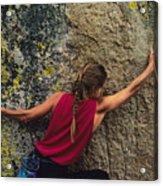 A Rock Climber On A Boulder Acrylic Print