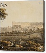 A Roman Landscape With The Colosseum And Figural Staffage Acrylic Print