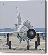 A Romanian Air Force Mig-21c Taxiing Acrylic Print