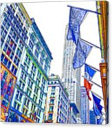 A Row Of Flags In The City Of New York 1 Acrylic Print