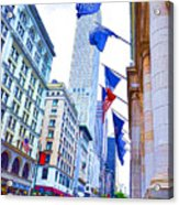 A Row Of Flags In The City Of New York 2 Acrylic Print