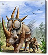 A Rubeosaurus And His Offspring Acrylic Print