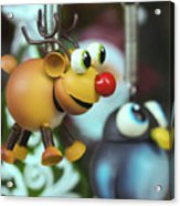 A Rudolph The Red Nosed Reindeer Ornament With A Penguin Acrylic Print