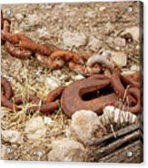 A Rusty Chain And Hook Acrylic Print