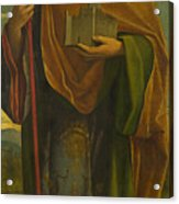 A Saint With A Fortress And A Banner Acrylic Print