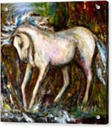 A Secret Place White Hores Painting Acrylic Print