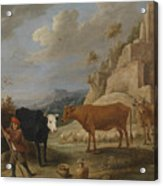 A Shepherd With His Flock In A Landscape With Ruins Acrylic Print