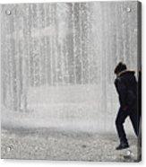 A Silhouette Of The Boy Against A Fountain Acrylic Print