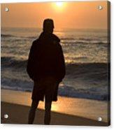 A Silhouetted Figure Enjoys The Ocean Acrylic Print