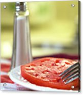 A Slice Of Beefsteak Tomato With Salt Acrylic Print